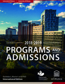 University of Ottawa 2018-2019 Programs and Admissions